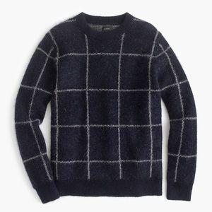 J Crew Windowpane Crewneck Sweater Navy Wool L